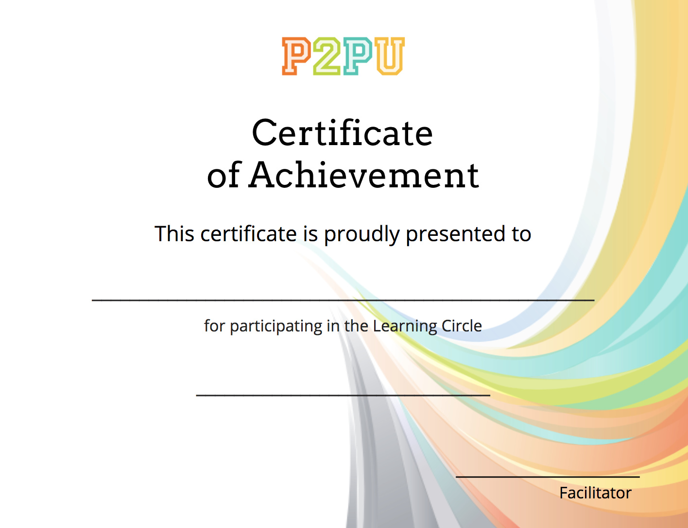 Certificate Template Reflection And Wrap Up P2pu Community