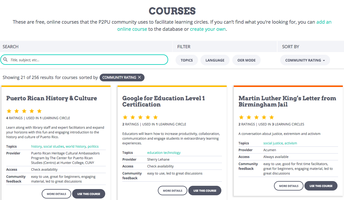 This is a screenshot of the P2PU courses page