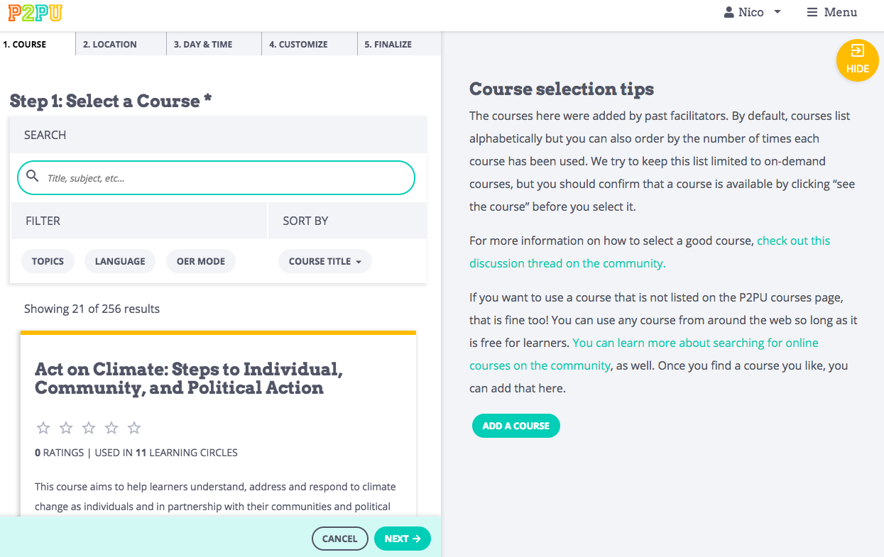 This is a screenshot of the learning circle creation page.